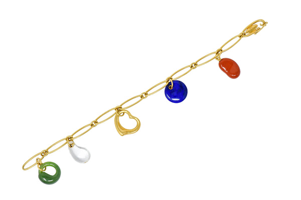 Elsa Peretti Tiffany & Co. 18 Karat Gold Five Charm Jade Lapis Crystal Icon Bracelet