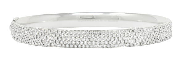 Tiffany & Co. 4.96 CTW Pave Diamond 18 Karat White Gold Metro Bangle Bracelet