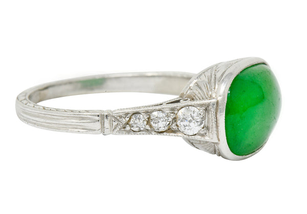 Art Deco Jadeite Jade Diamond Platinum Cabochon Ring GIA - Wilson's Estate Jewelry