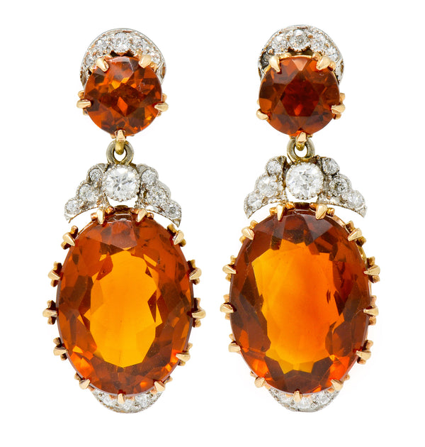 Edwardian 17.66 CTW Maderia Citrine Diamond Platinum 14 Karat Gold Drop Earrings - Wilson's Estate Jewelry