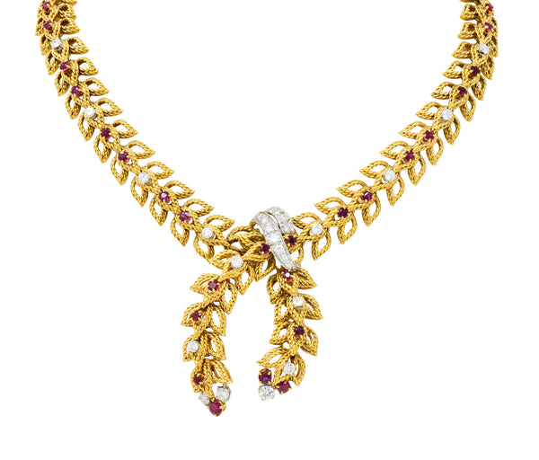 1950's Mid-Century 8.91 CTW Diamond Ruby Platinum 18 Karat Gold Foliate Link Lariat Necklace - Wilson's Estate Jewelry