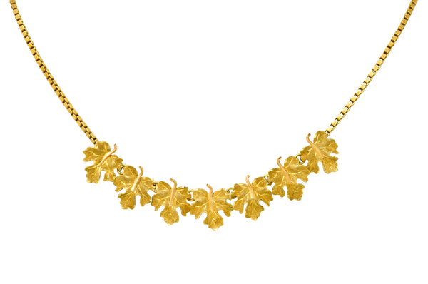 Buccellati 18 Karat Two-Tone Gold Italian Grape Leaf Necklace - Wilson's Estate Jewelry