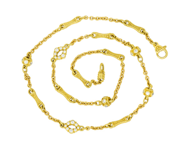 Judith Ripka Contemporary 1.40 CTW Diamond 18 Karat Gold Station Necklace - Wilson's Estate Jewelry