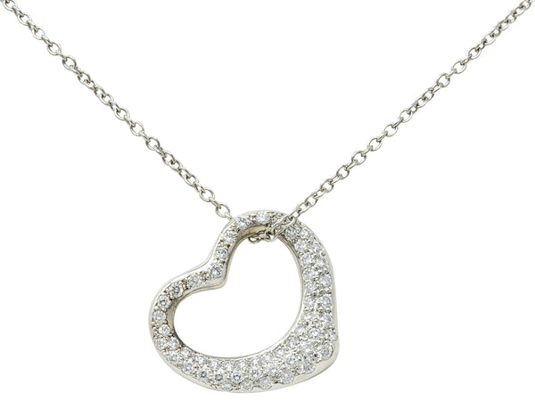 Elsa Peretti Tiffany & Co. 1.00 CTW Diamond Platinum 22MM Open Heart Pendant Necklace