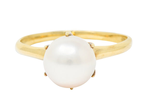 Mikimoto Vintage Cultured Pearl 14 Karat Gold Solitaire Ring - Wilson's Estate Jewelry