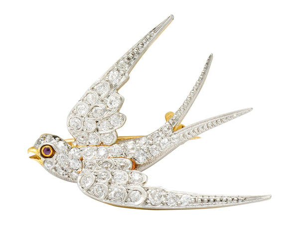 Edwardian 1.06 CTW Pave Diamond Platinum-Topped 18 Karat Gold Swallow Bird Brooch - Wilson's Estate Jewelry