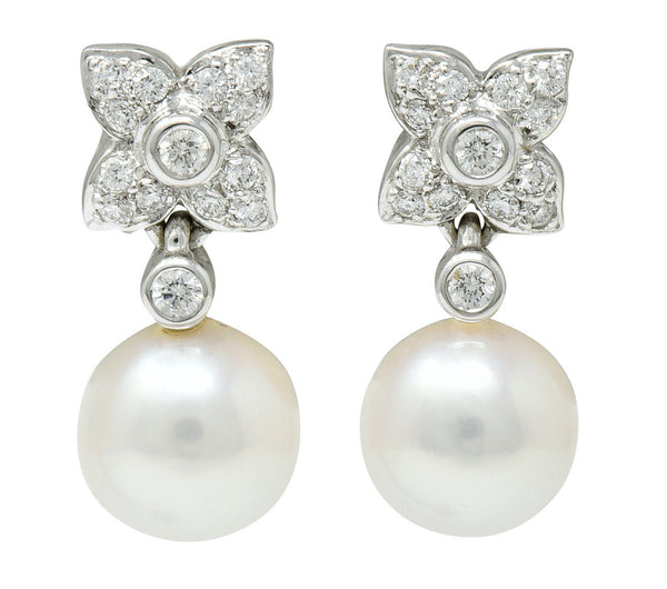 Mikimoto Cultured Pearl Diamond 18 Karat White Gold Floral Drop Earrings Contemporary