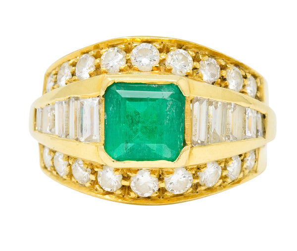 Vintage 2.60 CTW Emerald Diamond 18 Karat Gold Band Ring - Wilson's Estate Jewelry