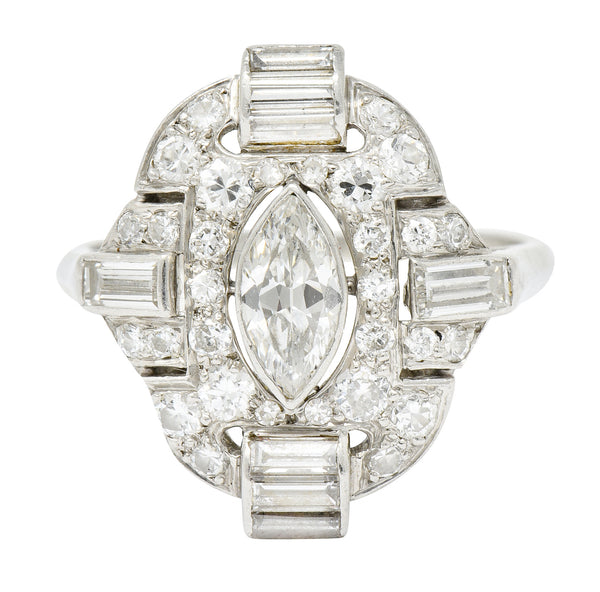 Art Deco 1.64 CTW Diamond Scrolling Pave Dinner Ring Circa 1930 - Wilson's Estate Jewelry