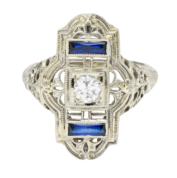 Art Deco Transitional Diamond 18 Karat White Gold Floral Dinner Ring - Wilson's Estate Jewelry