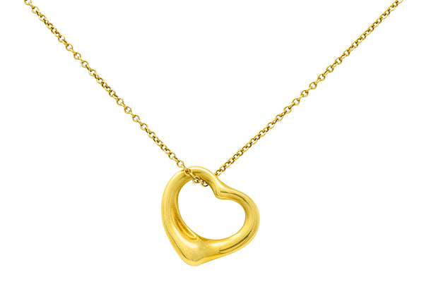 Elsa Peretti Tiffany & Co. 18 Karat Gold Open 14MM Heart Pendant Necklace - Wilson's Estate Jewelry