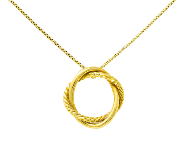 David Yurman 18 Karat Gold Crossover Twisted Cable Circle Pendant Necklace - Wilson's Estate Jewelry