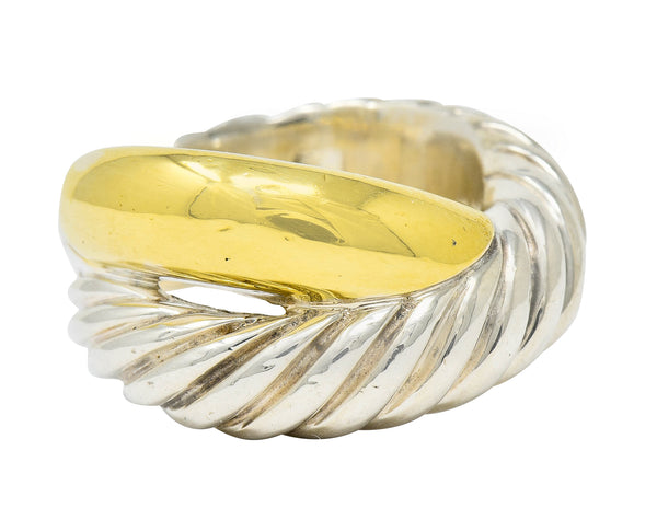 David Yurman 18 Karat Gold Sterling Silver Crossover Band Ring - Wilson's Estate Jewelry