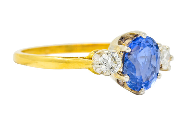1955 Mid-Century 1.70 CTW Sapphire Diamond 18 Karat Two-Tone Gold Three Stone Ring - Wilson's Estate Jewelry
