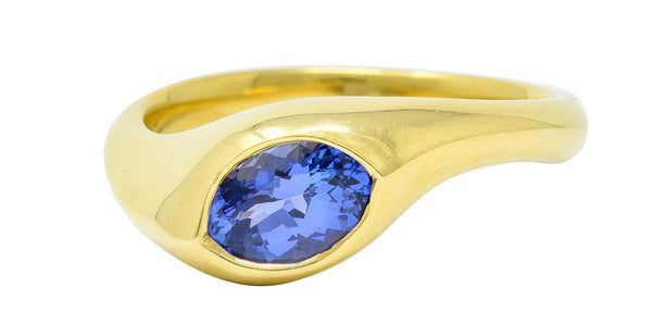 1990s Vintage Tanzanite 18 Karat Gold Eyelet Band Ring