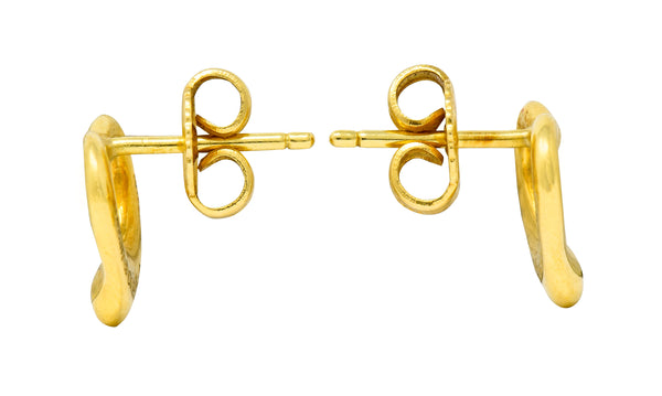 Elsa Peretti Tiffany & Co. 18 Karat Gold Open Heart Stud Earrings - Wilson's Estate Jewelry