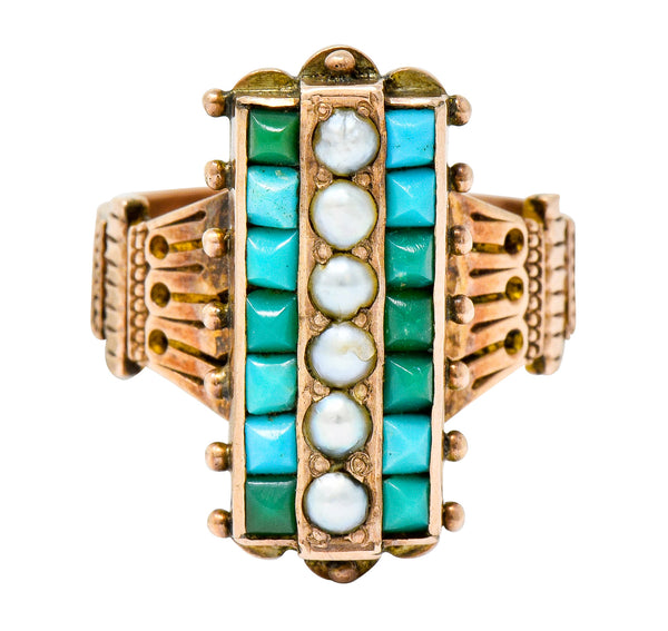 Victorian Etruscan Revival Natural Seed Pearl Turquoise 14 Karat Rose Gold Ring - Wilson's Estate Jewelry