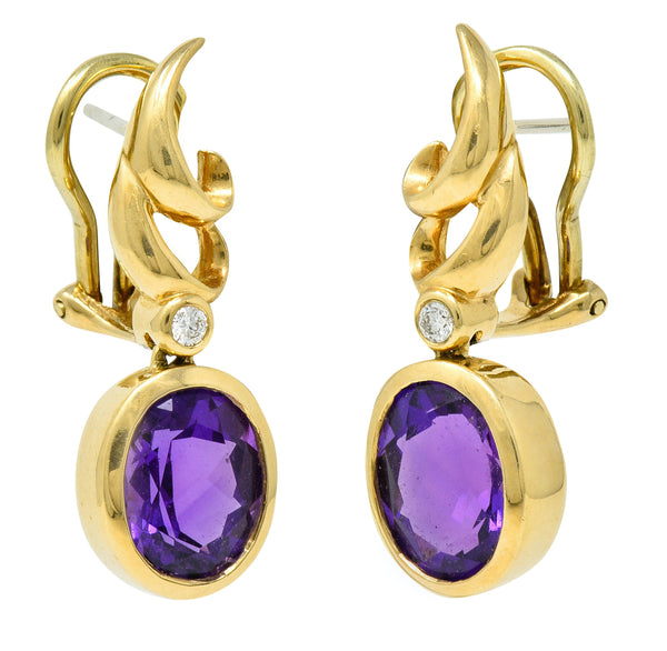 Retro Diamond Amethyst 14 Karat Gold Drop Earrings