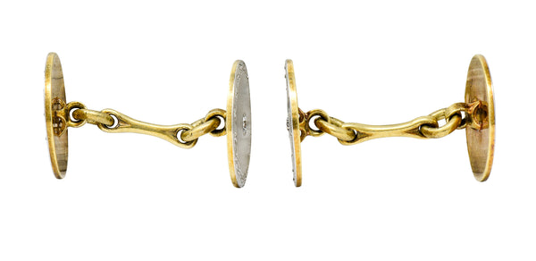 Art Deco Diamond Platinum-Topped 14 Karat Gold Men's Cufflinks - Wilson's Estate Jewelry