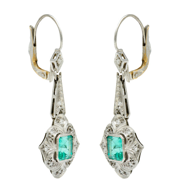 Art Deco 2.34 CTW Emerald Diamond Platinum Drop Earrings