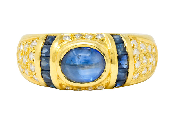 Vintage Sapphire Diamond 18 Karat Gold Cabochon Band Ring - Wilson's Estate Jewelry