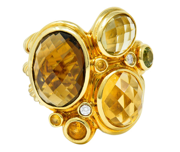 David Yurman Topaz Citrine Multi-Gem 18 Karat Gold Mosaic Cluster Ring