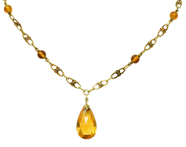 Art Nouveau Citrine 14 Karat Gold Floral Drop Necklace