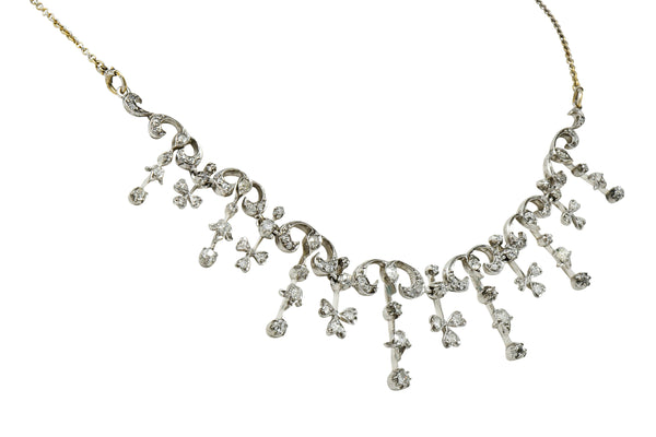 Edwardian 4.00 CTW Diamond Platinum-Topped 14 Karat Gold Droplet Necklace