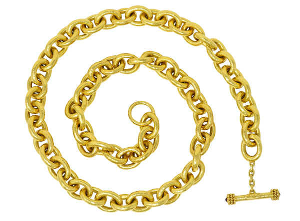 Elizabeth Locke Ruby 19 Karat Gold Hammered Curb Link Chain Collar Necklace