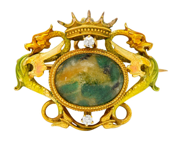 Krementz Art Nouveau Hardstone Diamond Enamel 14 Karat Gold Dragon Cabochon Pendant Brooch - Wilson's Estate Jewelry