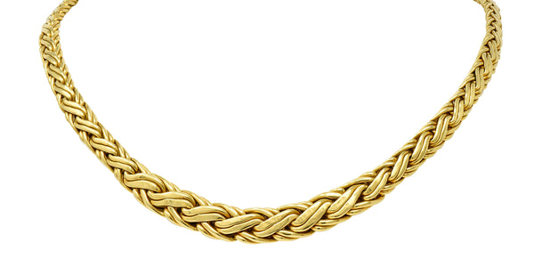 Tiffany & Co. 1980's Vintage 18 Karat Gold Wheat Chain Collar Necklace
