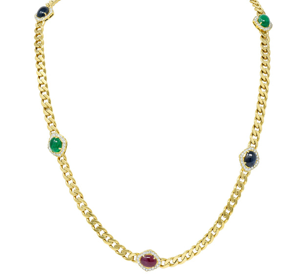 1980's Vintage Sapphire Emerald Ruby Diamond 18 Karat Gold Station Necklace