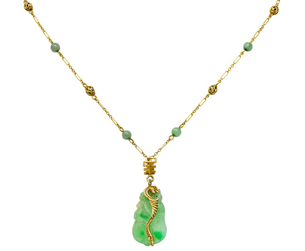 Art Nouveau Carved Jade 14 Karat Gold Drop Station Necklace