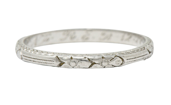 1920's Art Deco Platinum Flower & Wheat Band Ring