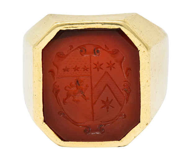 Retro Carnelian Intaglio 14 Karat Gold Men's Signet Ring