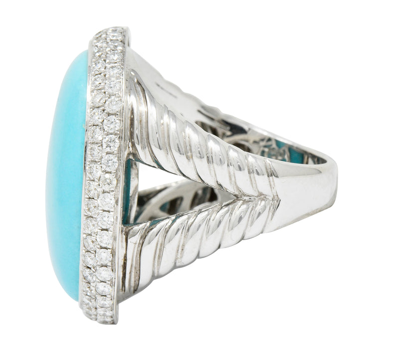 1990's Vintage Turquoise 1.25 CTW Diamond 18 Karat White Gold Statement Ring - Wilson's Estate Jewelry