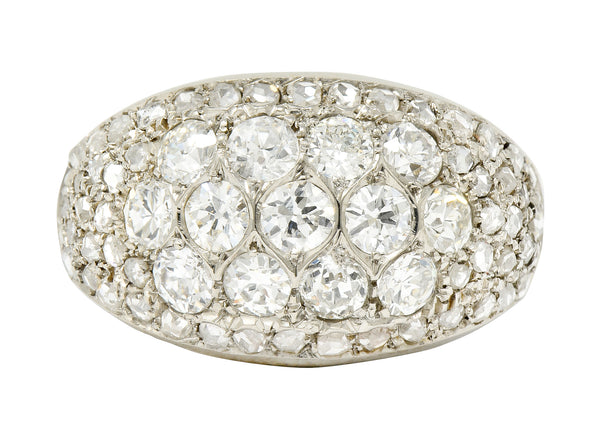 Art Deco 2.10 CTW Diamond 18 Karat White Gold Pave Bombe Band Ring - Wilson's Estate Jewelry