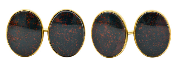 W.F. Cory & Bro. Art Nouveau Bloodstone 14 Karat Gold Men's Cufflinks