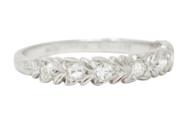 Art Deco 0.35 CTW Diamond Platinum Foliate Band Ring