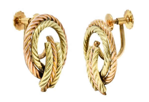 Tiffany & Co. Retro 14 Karat Two-Tone Gold Twisted Rope Screwback Earrings