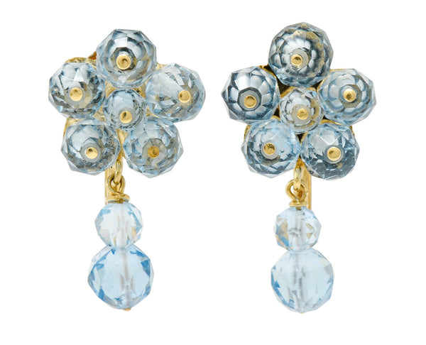 Retro Aquamarine 14 Karat Gold Floral Cluster Screwback Earrings