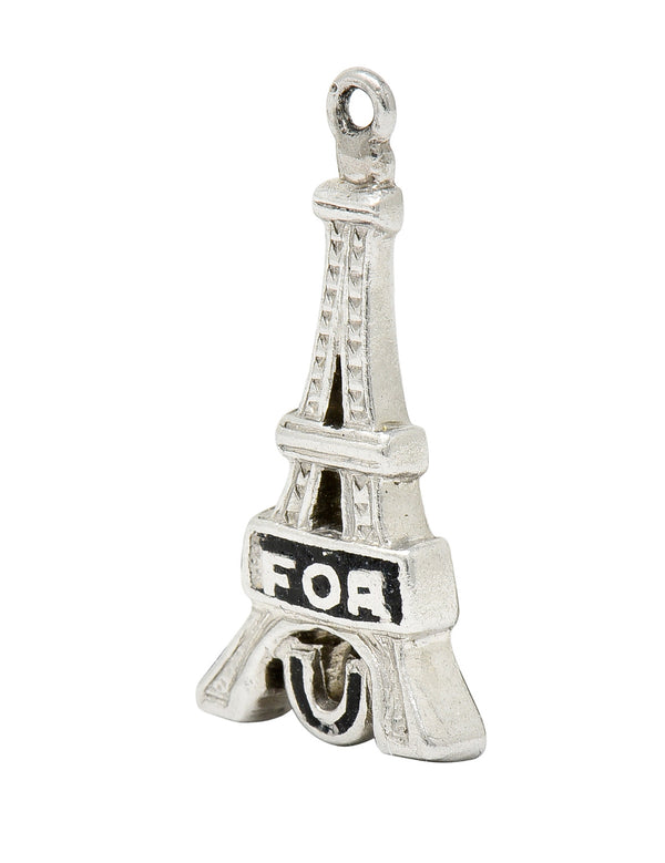 Art Deco Enamel Platinum I Fell For You Eiffel Tower Charm - Wilson's Estate Jewelry