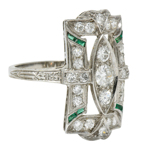 Art Deco 1.15 CTW Diamond Emerald Platinum Dinner Ring