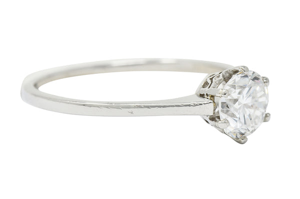 Edwardian 0.93 CTW Diamond Platinum Solitaire Engagement Ring GIA - Wilson's Estate Jewelry