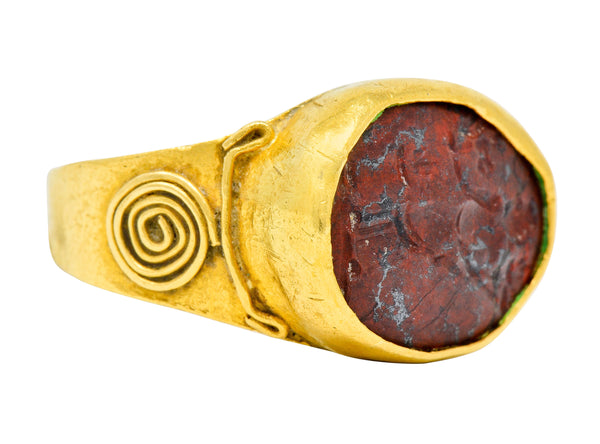Early Jasper Intaglio 18 Karat Gold Unisex Signet Ring