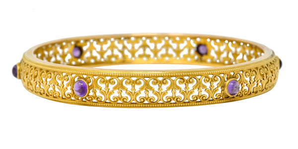 Art Nouveau Amethyst 14 Karat Gold Scrolled Filigree Bangle Bracelet