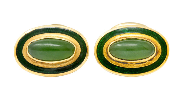 Alling & Co. Art Nouveau Jade 14 Karat Gold Men's Cufflinks