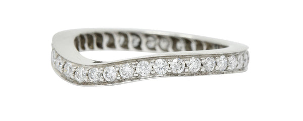 Modern 1.00 CTW Diamond Platinum Chevron Eternity Band Ring