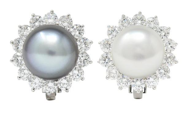 Tiffany & Co. South Sea Pearl 4.50 CTW Diamond Platinum Cluster Earrings