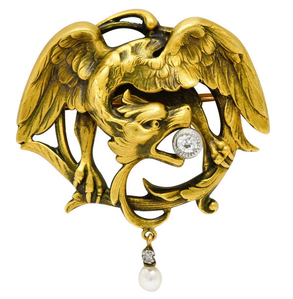 French Art Nouveau Diamond Pearl 18 Karat Gold Griffin Brooch